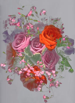 Still-Life Of Bouquet Of Pink And Red Roses