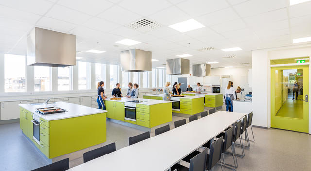 Home economics classroom at Gand Vgs School designed by Link Arkitektur, Sandnes, Norway.