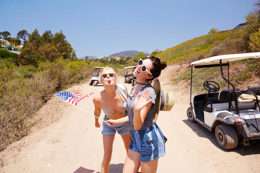 Two girls having fun on the 4th July