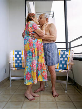 Senior Couple Kissing Passionately.