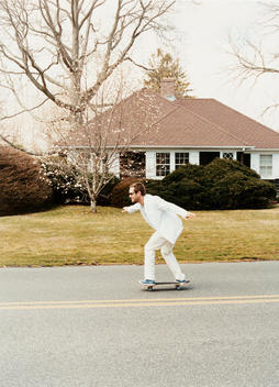 Portrait Of Man Skateboarding