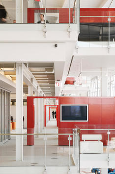 A Long Corridor In The Corporate Headquarters Of An Office Furniture Design And Manufacturing Company