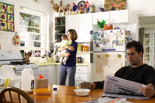 Breakfast Scene With Domestic Family Of Wife And Child Including Husband, Couple Fighting.