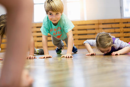 Children doing push-ups