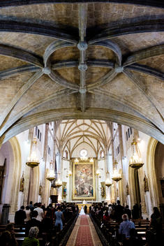 A wedding takes place in San Jeronimo el Real church in Madrid, Spain.