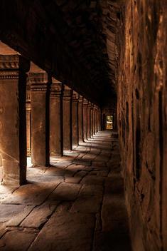 Colonnade at Ta Prohm Temple ruins at Angkor Wat, Siem Reap, Cambodia
