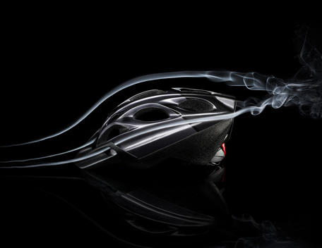 Cycling Helmet With Smoke Trails Showing Wind Resistance