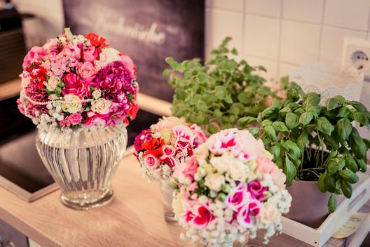 floral decoration, flower vases