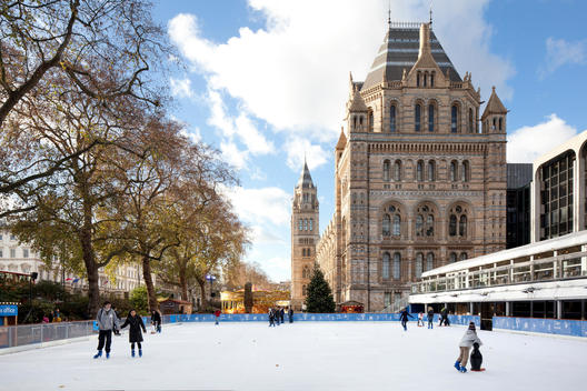 Ice skating at the Natural History Museum of London