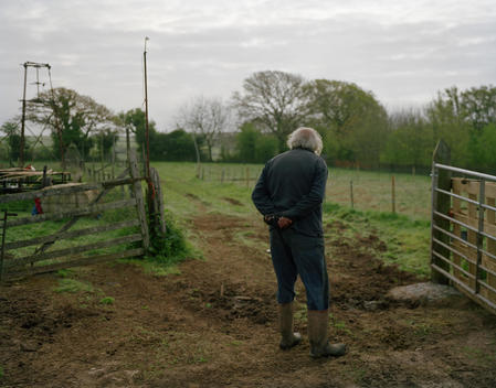 Senior Farmer Stands In A Muddy Field In Blackawton, Devon, England, Uk.