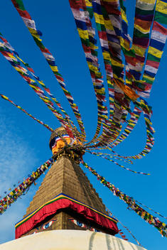 Low angle view of prayer flags hanging from temple