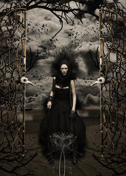 Dark Portrait Of Woman Against Haunted And Surreal Background