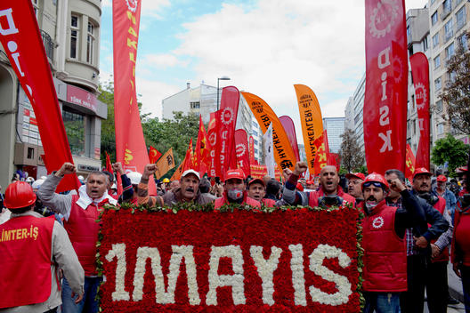 Revolutionary Labors Unions Confederations as its called \'DISK\' carrying banner in May Day in Istanbul in 2014 to memorize the Bloody May Day of 197