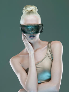 Woman In Mesh Eye Mask