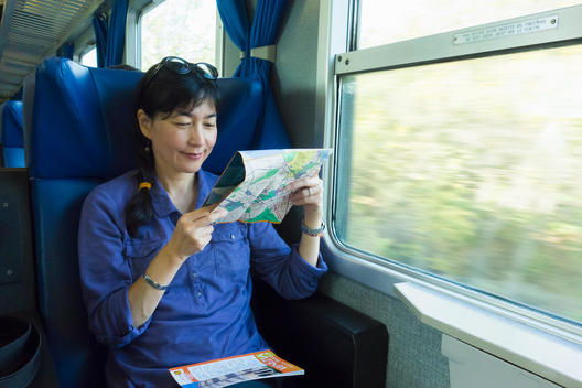 Japanese woman reading roadmap on train