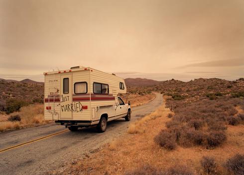 Just Married Rv On Desert Road