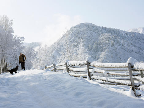 USA, Colorado, woman and dog in snowy ranch