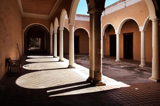 Merida Mexico colonial courtyard of public schoolyard