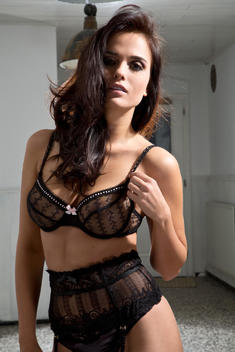 Young woman in black lingerie, Portrait