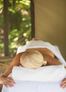 Woman having massage in spa