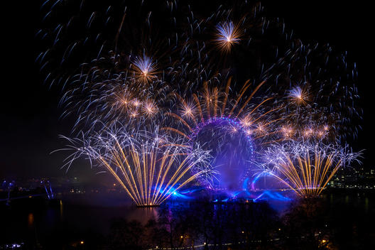 Fireworks to celebrate New Year\'s Eve on River Thames, London