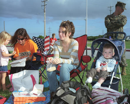 American Families Watching Softball Game On Usmc Air Station Futenma, A Controversial Base Because Of Its Location In A Densely-Populated Part Of Okinawa.