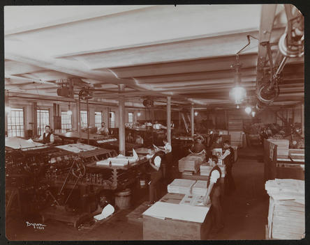 Christian Herald (Journal) Press Room With Men Working Presses.