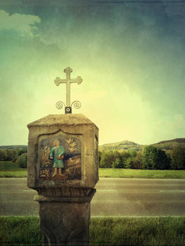 Germany, Baden-Wuerttemberg, near Rottenburg, catholic, cross, biblical account, stone, roadside