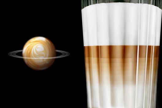 Latte Macchiato And Coffee Planet