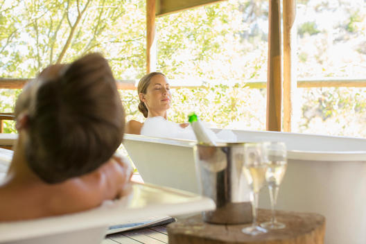 Couple relaxing together in spas