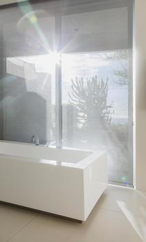 Sun shining through bathroom window