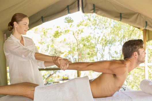 Man having massage in spa