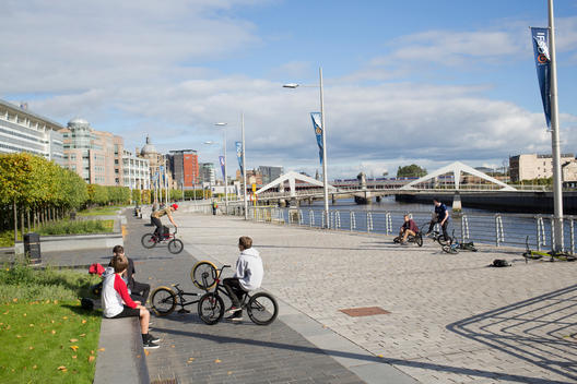 young boys on bmx bikes on the Clyde riverside