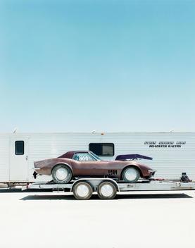 Land Speed Racing, Racing Car On Trailer