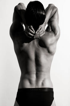 rear view of muscled man