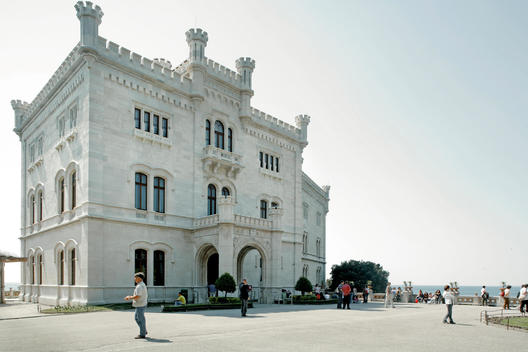 Elegant Building Exterior In Front Of The Sea