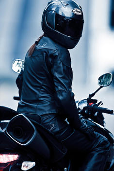 Person In Leather On Motorcycle