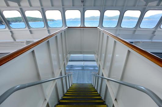 Staircase on ferry boat, Puget Sound, Washington, United States