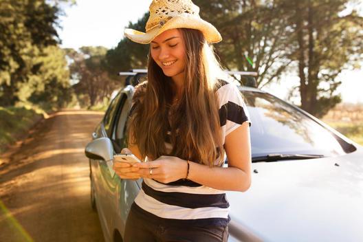 Girl technology in Car