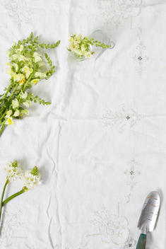 Spring flowers and trowel on linen
