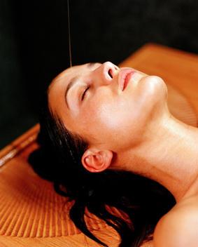 model having hair spa treatment