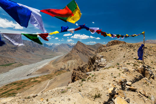Buddhist prayer flags in Spiti Valley, Himalayas, India