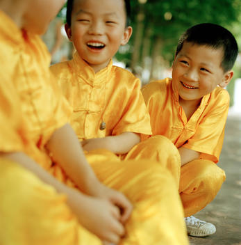 Chinese children at martial art school