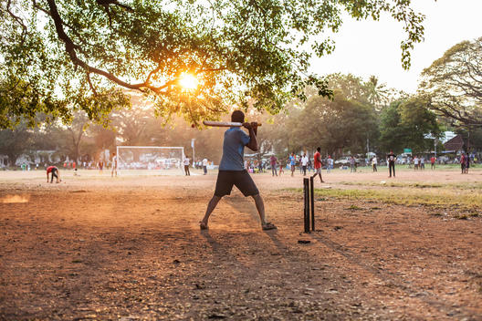 Cricket being played at Parade Grounds in Fort Kochi, Kerela, India