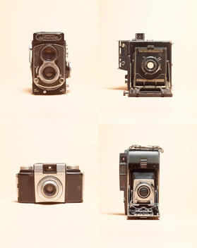 Four vintage camera styles