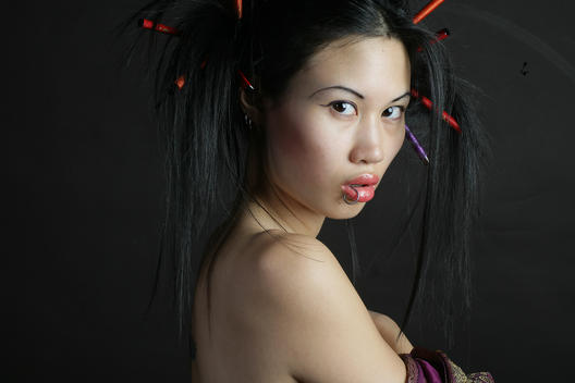 Portrait Of Exotic Pierced Asian Woman