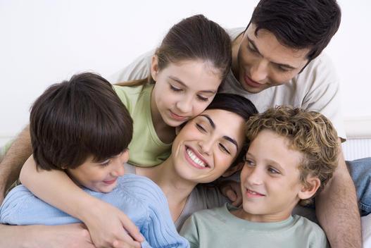 Family enjoying moment of closeness