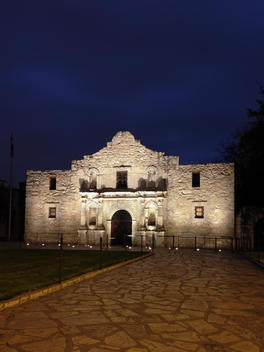 The Alamo at night - Historic Site and Building in San Antonio, Texas, USA,