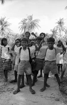 Black and white photograph of children in group
