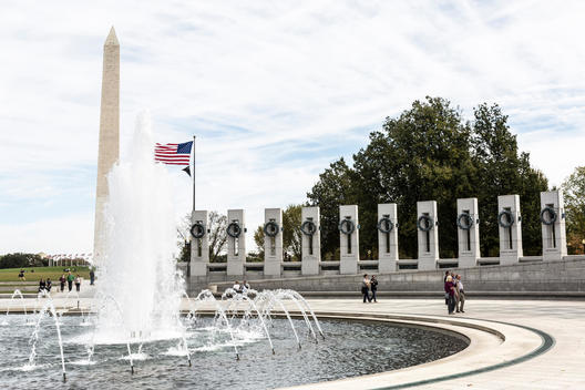 A view of The Washington Monument, seen from the National World War II Memorial, Washington, D.C.